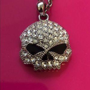Harley-Davidson crystal skull necklace